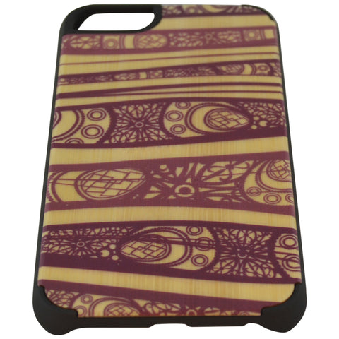 Wooden Case iPhone 6 Hard Bumper Pattern Protective Purple