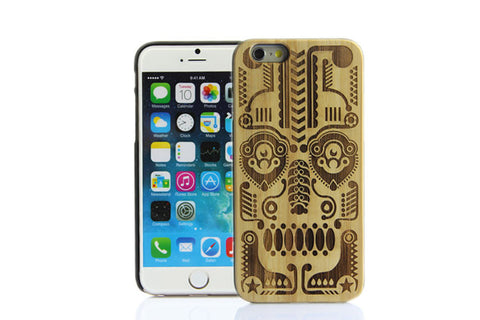 Wooden Case iPhone 6 Hard Cover Engraved Pattern Bamboo Beige Beige
