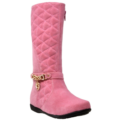 Kids Knee High Boots Quilted Leather Gold Train Trim Heart Charm Riding Shoes Pink