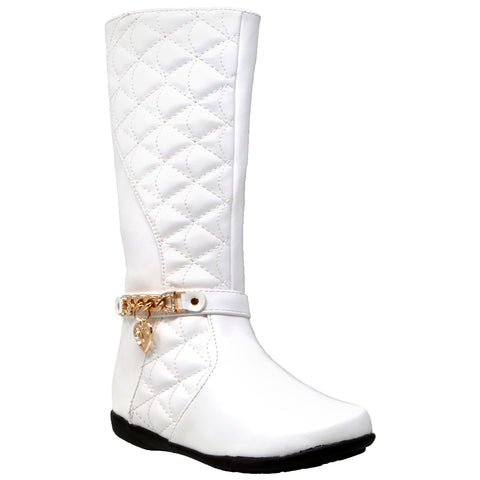 Kids Knee High Boots Quilted Leather Gold Train Trim Heart Charm Riding Shoes White