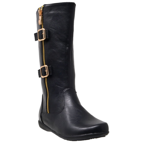 Kids Knee High Boots Quilted Leather Zipper Trim Gold Buckle Riding Shoes Black