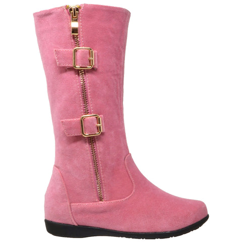 Kids Knee High Boots Quilted Leather Zipper Trim Gold Buckle Riding Shoes Pink