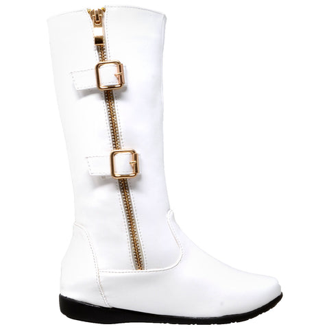 Kids Knee High Boots Quilted Leather Zipper Trim Gold Buckle Riding Shoes White