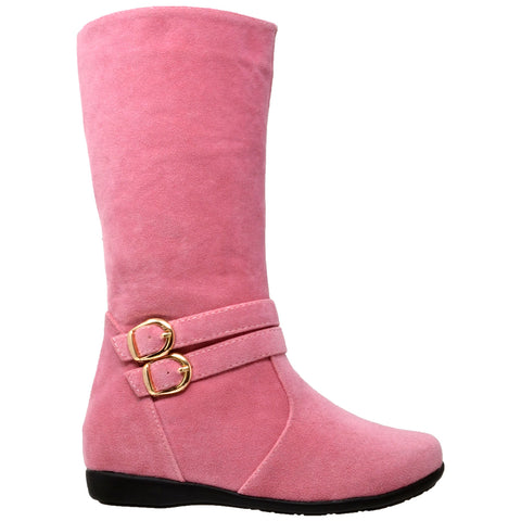 Kids Knee High Boots Quilted Leather Gold Buckle Accent Riding Shoes Pink