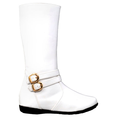 Kids Knee High Boots Quilted Leather Gold Buckle Accent Riding Shoes White
