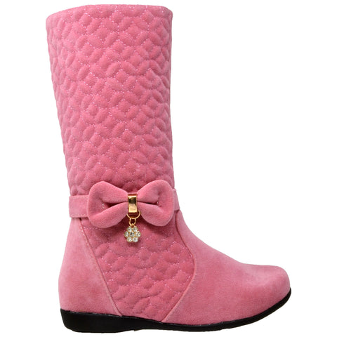 Kids Knee High Boots Quilted Leather Bow Accent Zip Close Riding Shoes Pink