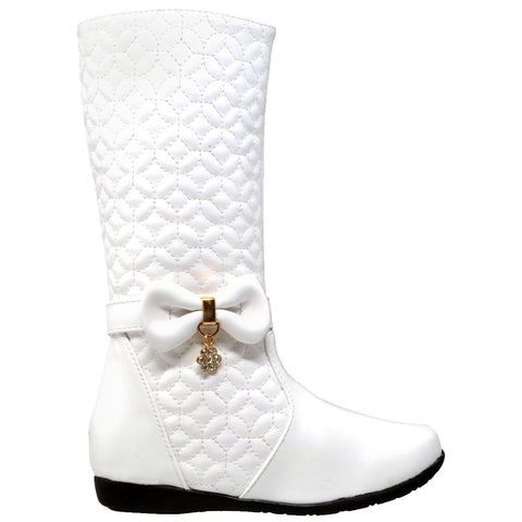 Kids Knee High Boots Quilted Leather Bow Accent Zip Close Riding Shoes White