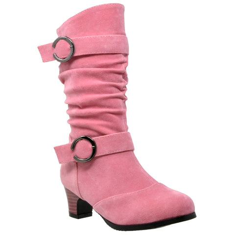 Kids Mid Calf Boots Double Buckle Zip Close High Heel Shoes Gray Coral