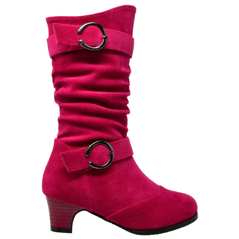 Kids Mid Calf Boots Double Buckle Zip Close High Heel Shoes Gray Fuchsia