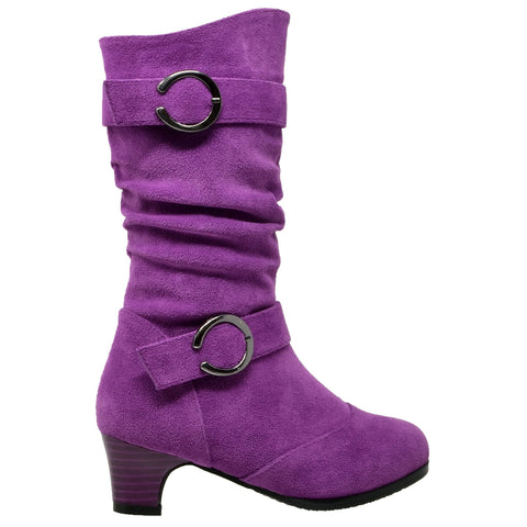 Kids Mid Calf Boots Double Buckle Zip Close High Heel Shoes Gray Purple