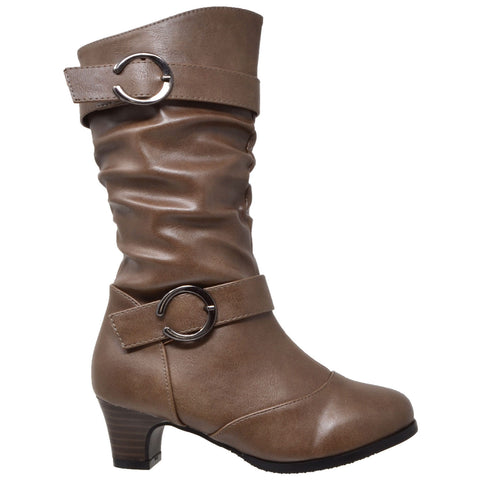 Kids Mid Calf Boots Double Buckle Zip Close High Heel Shoes Gray Taupe