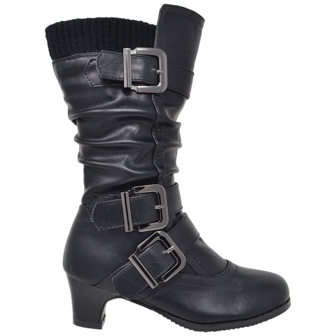 Kids Knee High Boots Ruched Faux Leather Strappy  Buckle Low Heel Shoes Black
