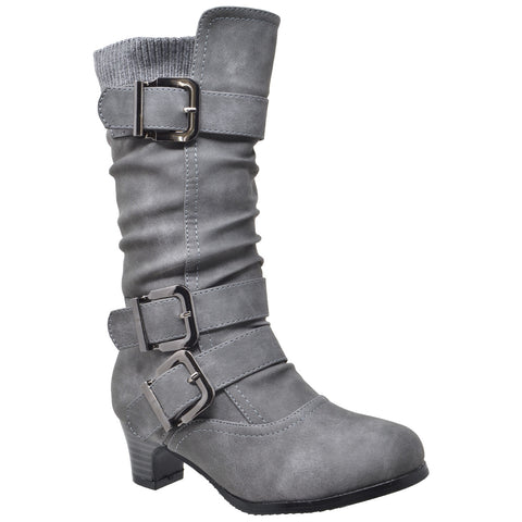 Kids Knee High Boots Ruched Faux Leather Strappy  Buckle Low Heel Shoes Gray