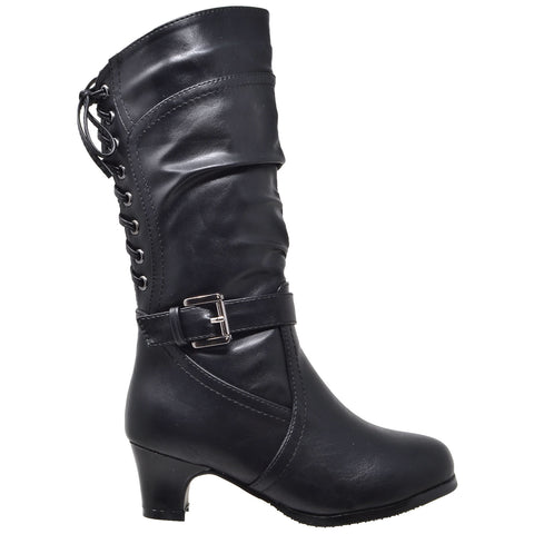 Kids Knee High Boots Corset Lace Up Back Buckle Strap Low Heel Shoes Black