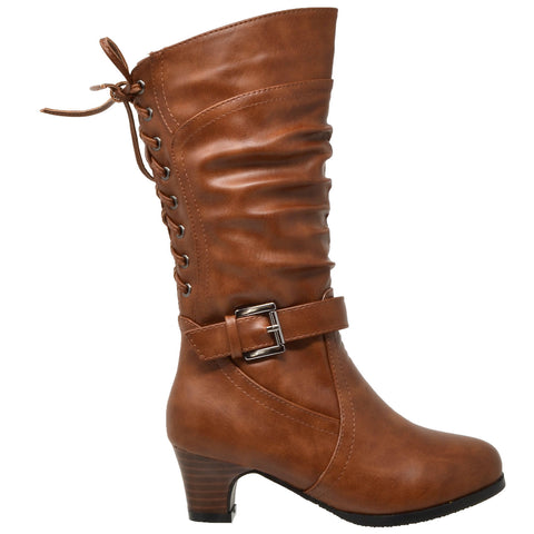 Kids Knee High Boots Corset Lace Up Back Buckle Strap Low Heel Shoes Brown