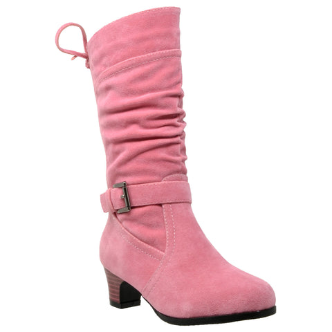 Kids Knee High Boots Corset Lace Up Back Buckle Strap Low Heel Shoes Coral