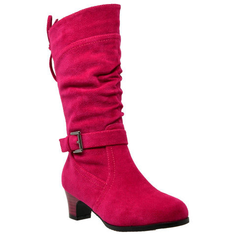 Kids Knee High Boots Corset Lace Up Back Buckle Strap Low Heel Shoes Fuchsia