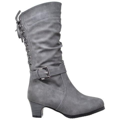 Kids Knee High Boots Corset Lace Up Back Buckle Strap Low Heel Shoes Gray