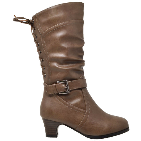 Kids Knee High Boots Corset Lace Up Back Buckle Strap Low Heel Shoes Taupe