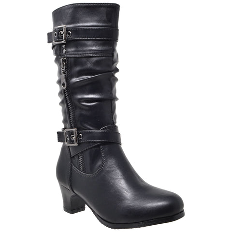 Kids Knee High Boots Ruched Leather Strappy Buckle  Zip Accent Low Heel Shoes Black
