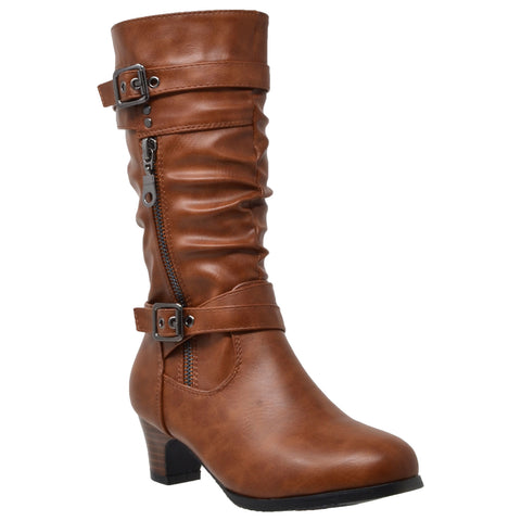 Kids Knee High Boots Ruched Leather Strappy Buckle Zip Accent Low Heel Shoes Brown
