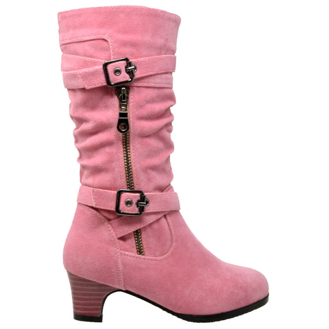 Kids Knee High Boots Ruched Leather Strappy Buckle Zip Accent Low Heel Shoes Coral