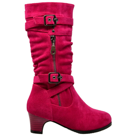 Kids Knee High Boots Ruched Leather Strappy Buckle Zip Accent Low Heel Shoes Fuchsia