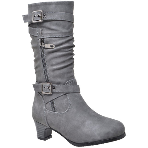 Kids Knee High Boots Ruched Leather Strappy Buckle  Zip Accent Low Heel Shoes Gray