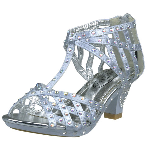 Kids Dress Sandals T-Strap Rhinestone Laser Cutou High Heel Shoes Silver