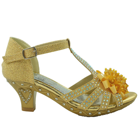 Kids Dress Sandals T-Strap Rhinestone Beaded Glit Buckle High Heel Shoes Gold