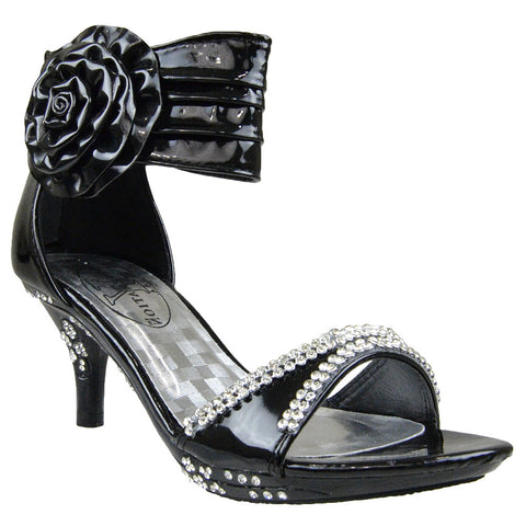 Kids Dress Sandals Flower Rosette Rhinestones Adjustable Ankle Strap black