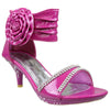 Kids Dress Sandals Flower Rosette Rhinestones Adjustable Ankle Strap Pink