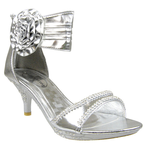 Kids Dress Sandals Flower Rosette Rhinestones Adjustable Ankle Strap Silver