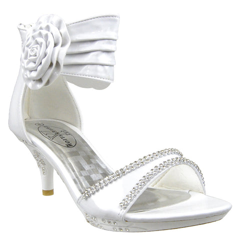 Kids Dress Sandals Flower Rosette Rhinestones Adjustable Ankle Strap White
