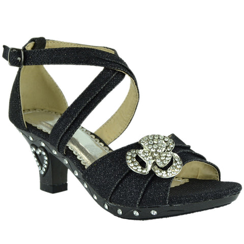 Kids Dress Sandals Glitter Rosette Embellishment High Heel Shoes Black