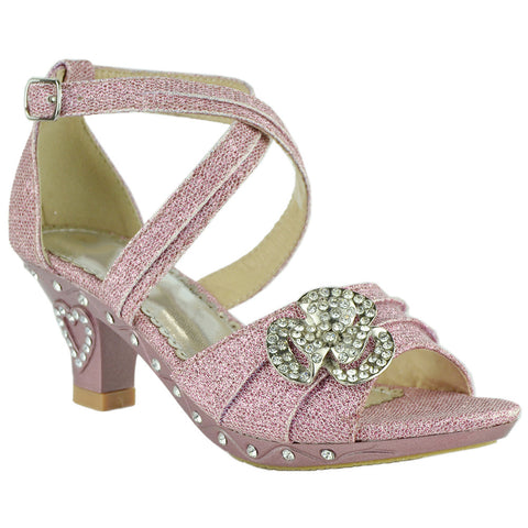 Kids Dress Sandals Glitter Rosette Embellishment High Heel Shoes Pink