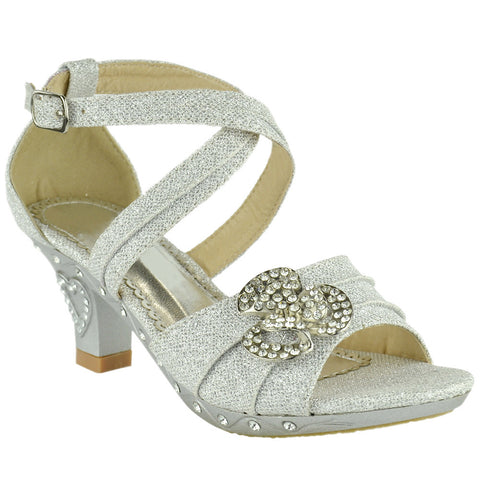 Kids Dress Sandals Glitter Rosette Embellishment High Heel Shoes Silver