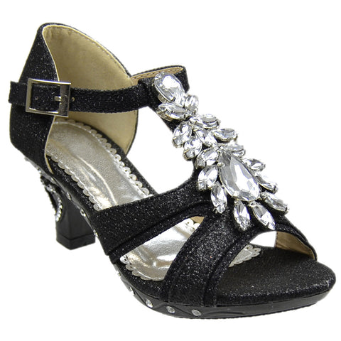 Kids Dress Sandals Petal Gemstone Embellishments High Heel Shoes Black