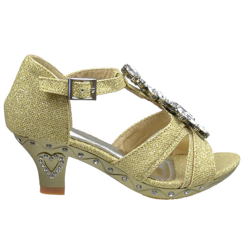 Kids Dress Sandals Petal Gemstone Embellishments High Heel Shoes Gold