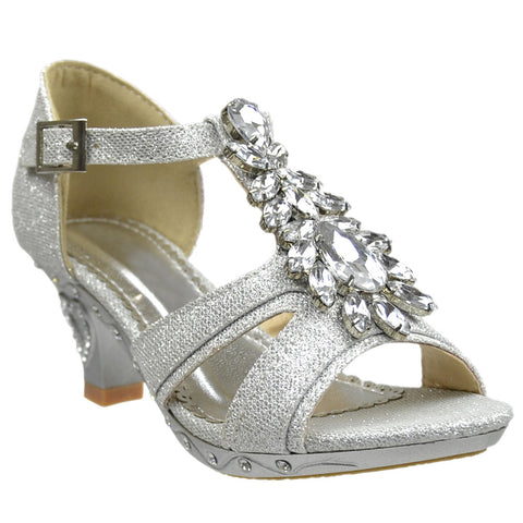 Kids Dress Sandals Petal Gemstone Embellishments High Heel Shoes Silver