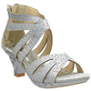 Kids Dress Sandals Rhinestone Glitter Cutout High Heel Pageant Shoes Silver