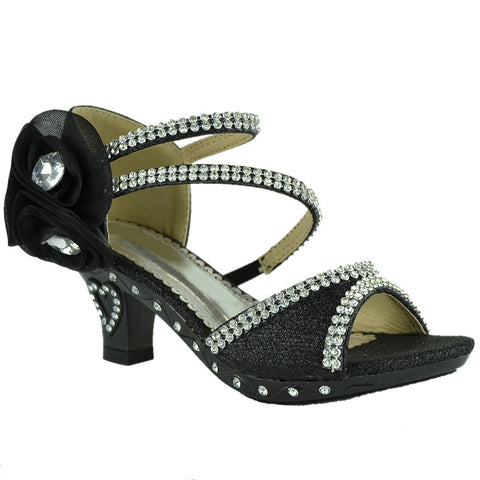 Kids Dress Sandals Asymmetrical Rhinestones Heart High Heel Shoes Black