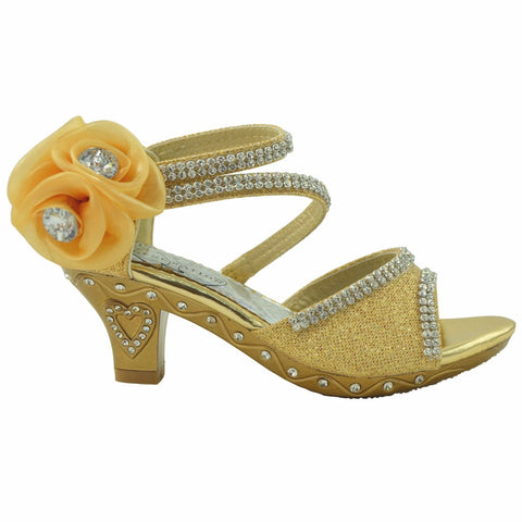 Kids Dress Sandals Asymmetrical Rhinstone Strap Buckle High Heel Shoes Gold