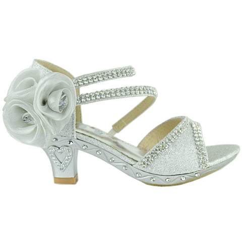 Kids Dress Sandals Asymmetrical Rhinestones Heart High Heel Shoes Silver