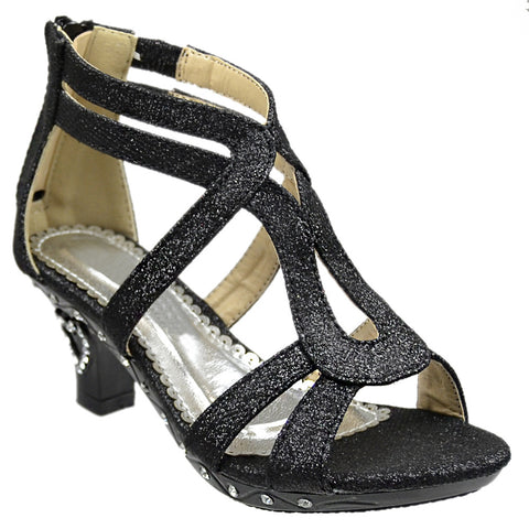 Kids Dress Sandals Glitter Cutout Heart High Heel Pageant Shoes Black