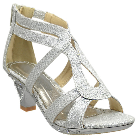 Kids Dress Sandals Glitter Cutout Heart High Heel Pageant Shoes Silver