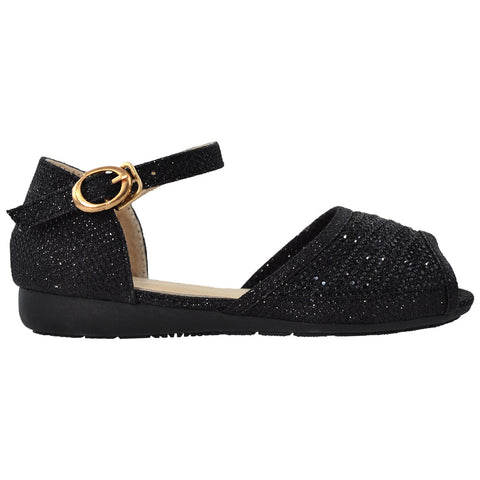 Kids Ballet Flats Peep Toe Ankle Strap Glitter Dress Sandals Black