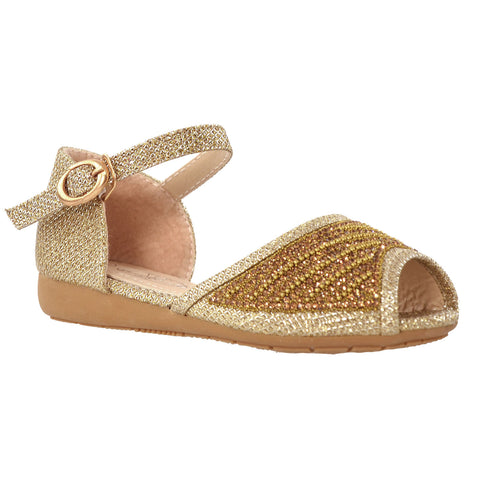 Kids Ballet Flats Peep Toe Ankle Strap Glitter Dress Sandals Gold