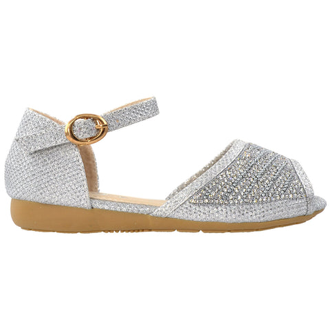 Kids Ballet Flats Peep Toe Ankle Strap Glitter Dress Sandals Silver