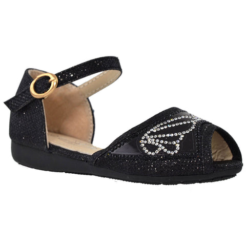 Kids Ballet Flats Peep Toe Buckle Strap Glitter Dress Sandals Black